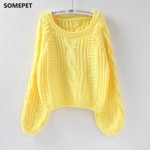 Women Pull O Neck Sweaters Sweater Women Sweater Jumper Candy Color Harajuku Chic Short Twisted Pull Girl