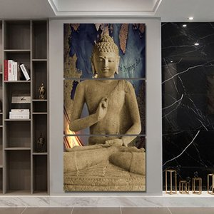3 Pieces Abstract Buddha Wall Art Print Home Decoration Pictures For Living Room Poster Picture Canvas Art Painting