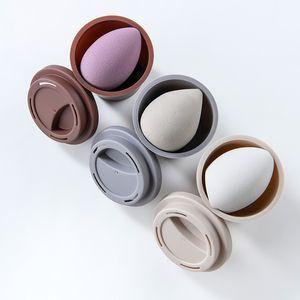 Make-up-Schwammhalter Großer formsicherer tragbarer sauberer Mini-Kaffeetasse Aufbewahrungsbox für Kosmetik-Schwamm-Hülle
