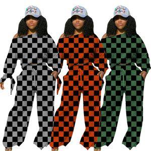 New Autumn wide-leg women Wide leg pants lattice Sweater fashion pants two-piece suit loose slimming casual sportsw 5460