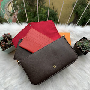 Newest handbags purses bags Fashion women Shoulder bags High quality Three-piece combination bags b Size 21*11*2 cm 61276 With box