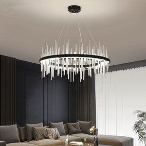 Modern Silver Lighting Creative Long tube stainless steel LED Chandelier Living room Hanging lamp Dining room Decor Office Light