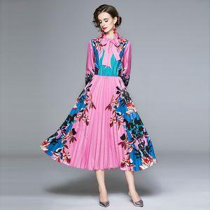 Yeni Sonbahar Pist Çiçek Baskı Bow Tie Yaka Maxi Gömlek Elbise Vintage Uzun Kollu Elastik Bel Pembe Kadın Uzun Pileli Elbise