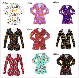 Женщины Комбинезоны Новый Хэллоуин Printed Повседневная мода с длинным рукавом Rompers V шеи Короткие Комбинезоны Женщины Плюс Размер Bodycon DHL