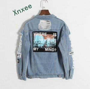Xnxee Where is my mind? Korea Kpop retro frayed embroidery letter patch women &#39s denim bomber jacket Blue Coat Female