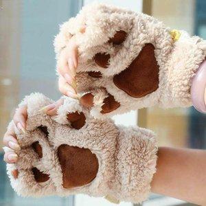 Women Cute Cat Claw Plush Mittens Warm Soft Plush Short Fingerless Fluffy Bear Cat Gloves Costume Half Finger Black Beige