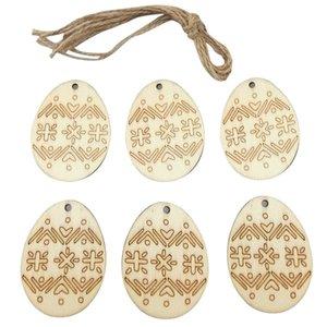 2 estilos de madeira Easter ovos pingente diy criativo artesanato de madeira ornamento pendentes pendentes festival festa decoração home decoração suprimentos e122805