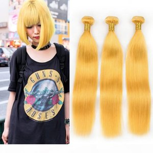 Virgin Brazilian Yellow Color Human Hair Straight Weave Bundles 3Pcs 300Gram Silky Straight Pure Yellow Human Hair Extensions Double Wefts