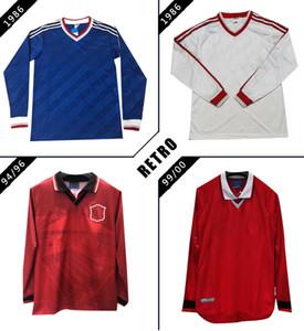 CANTONA # 7 MAN manica lunga in jersey retrò calcio United 85 86 94 95 96 l'uomo GIGGS Utd RONALDO BECKHAM camicie classico vintagefootball