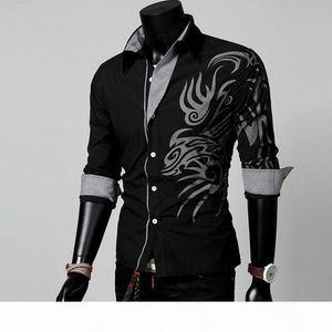 Hot Sale Men Male Fashion Long Sleeve European Style Tattoo Dragon Printed Shirt Silm Fit Shirt 4 Size 4 Colors