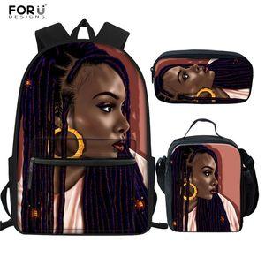 FORUDESIGNS Afro девушка Pattern ранцы Set Black Женщина Искусство Рюкзак Повседневной Юниор девушка Schoolbag Путешествие Softback Болс Mujer