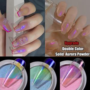 Doppio colore Solid Aurora Nail Polveri chiodo trasparente olografica Neon Glitters Chameleon della polvere della polvere Chrome Nail Art Pigmenti