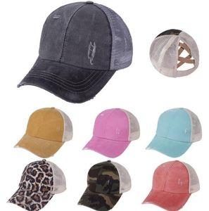 10 шт. Ponytail бейсбольная кепка из бейсбола 18 цветов Criss Crest промытый хлопчатобумажным грузовиком Caps Летняя шляпа Snapback Hat Sport Hip Hop