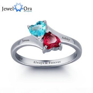 yizhan Personalized Infinite Love Promise Ring Double Heart Stones 925 Sterling Silver Jewelry Free Gift Box(Silveren SI1789)