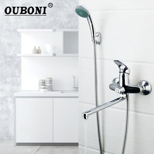 OUBONI Wall Mounted Length Outlet Rotating Bathroom Shower Faucet Bath Faucet Mixer Tap With Hand Shower Faucet Set Bathtub 1011