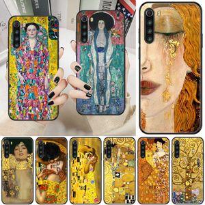 Gustav Klimt Art Kiss Cover на мобильный телефон, подходит для, супер черный TPU водонепроницаемый силиконовой оболочкой, Redmi Note 7 7A 8 8T 9 9A 9S K30 Pro