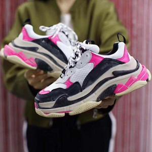 17FW Balenciaga Triple S Designer Baixa Old Dad Sneaker Combinação Soles botas das mulheres dos homens 17FW Triple S Moda Retro calçados casuais