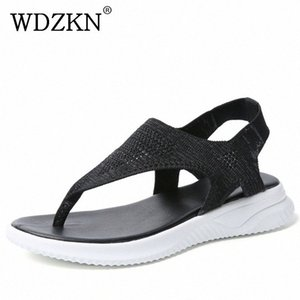 WDZKN New Women Sandals 2019 Summer Casual Shoes Flying Weaving Air Mesh Flat Sandals Women Flip Flops Slip On Ladies NGng#
