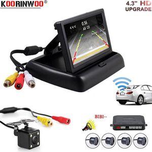 Koorinwoo Car Wireless universal Parking sensor Alarm Radar Auto Reverse Video System Foldable Monitor with RearView camera Kit