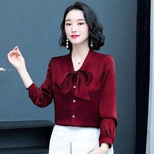 Bow Shirt Womens Long Sleeve Early Autumn New Fashion Design Niche Shirt Solid Color Top Artificial Silk