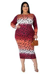 Femmes Designer Plus la taille des robes d'automne à manches longues imprimé léopard mode Casual Taille Plus Vêtements pour femmes