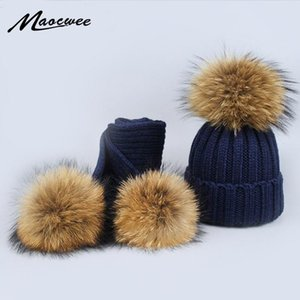 New 2 Pieces Set Children Winter Hat Scarf for Girls Hat Real Raccoon Fur Pom Pom Beanies Woman Cap Knitted Winter Wholesale