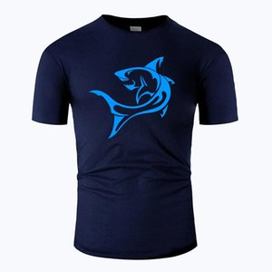 Shark Line Art O Neck Cotton T Shirt Men And Woman Unisex Summer Short Sleeve Designed Simple Style Casual Tee M01023 jlliaz bettine2010