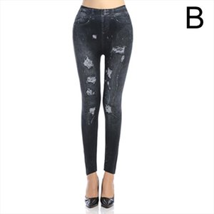 Newly Women Lady Faux Jeans Leggings Pants Slim Stretchy Breathable for Party Beach DO99 Drop Shipping