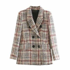 Elegant Women Tweed Blazer Fashion LadIes Plaid Knitted Jacket Streetwear Female Causal Double Breasted Coat Chic Girls Slim Set LJ201021