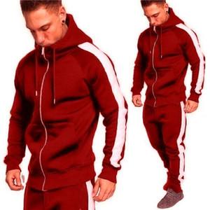 20s Jahre Herren Reißverschluss Casual Sportswear, modischer Side Streifen Hoodie Sportswear Jogger, Trackanzug Herrenanzug Langarm Jacke A