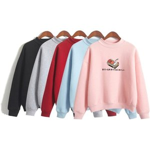 Women's Cartoon Sushi Funny Hoodies Sweatshirts Long Sleeve O-eck Cotton Pullovers Spring Femme Harajuku 2XL Tracksuits 201007