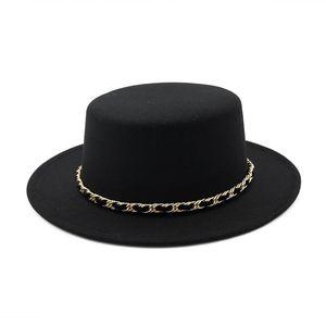 Nouvelle Europe US Laine Femmes Canotier Flat Top Hat Fedora en feutre large Brim Chapeau avec la chaîne de dames Feltro Bowler Gambler Top Hat