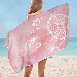 BeddingOutlet Dreamcatcher Bath Towel Microfiber Watercolor Beach Towel Blue Pink Purple Rectangle Bikini Cover-Up Mat 75x150cm LJ201222
