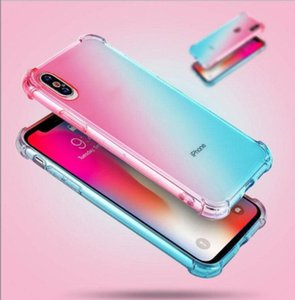 Gradient Colors Anti Shock Airbag Clear Cases For iPhone 12 Mini 11 Pro Max XS 8 7Plus 6S