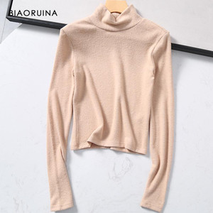 Biaoruina Soft Soft Pays Style Couleur Couleur Solid Couleur Brossé Pull Short Pull Femme Casual Pull