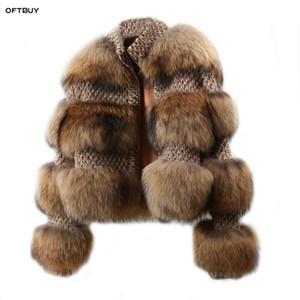 OFTBUY 2020 Mujeres de invierno Parka Real Natural Mapache Fur Woolen Coat Bomber Chaqueta Coreana Streetwear Nuevo Gran tamaño