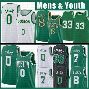 Kemba 8 Walker Jayson 0 Tatum NCAA Jersey Basquetebol 33 Jaylen 7 Brown 20 Hayward Marcus 36 Inteligente Juvenil Men Kids 2021 Novo Retro