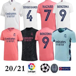 20 21 Real Madrid zu Hause # 7 GEFAHR Fußball-Jersey-2021 Thai Top Qualität MODRIC Marcelo Man Fußballhemd BALE ASENSIO Third Kit Fußball-Trikot