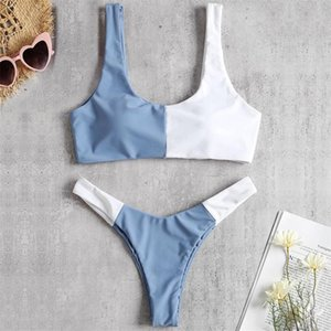 High Waist Bathing Suits Push Up Sexy Blue White Swimsuit Two Piece Women Sport Crop Vest Bikini Sets Women's Beach Bathers