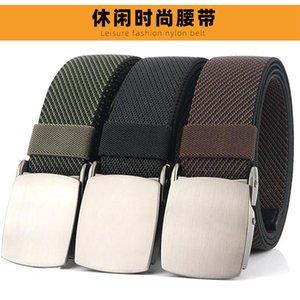 2021 Moda Dimi Elastik Kemer Yüksek Mukavemetli Elastik Fiber Sert Metal Toka Erkek Kot Kemer Açık Spor için Uygun