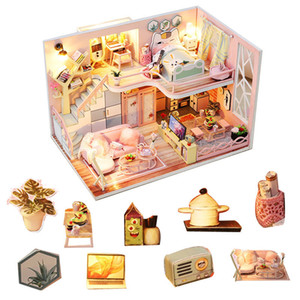 Warm And Pink DIY Doll House Wooden Doll Houses Miniature dollhouse Furniture Kit Toys For Children Christmas Gift LJ201126