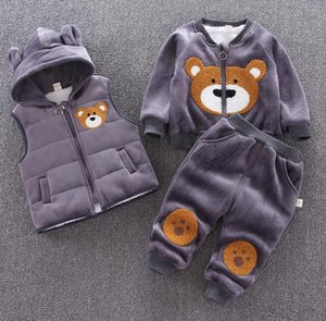 2020 children's winter clothing children Cartoon Bear head Plush thickened sweater hooded zipper vest set wholesale