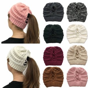 New Fashion Lady Monochrome Wool Hat Warm Wild Twist Woman Hat Curling Ponytail Hair Ball Knit Dual-use Cap