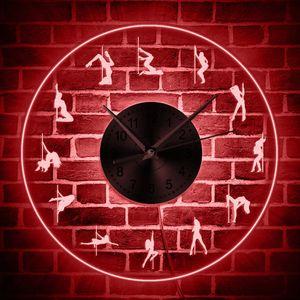 Sexy Pole Dancer Luminous Wall Clock Pole Dancing LED Neon Sign Clock Dancer Gift Steal Tube Dance Studio Wall Art Decor Light Y1218