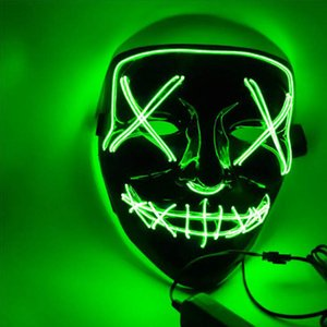 Mask LED Light Up Neon Party The Purge Election Year Great Funny Masks Festival Cosplay Costume Supplies Glow In Dark