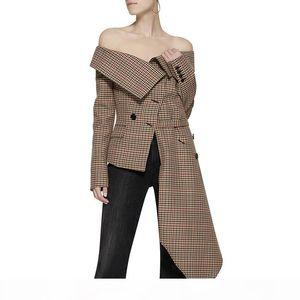 Plaid Irregular Off Shoulder Women Blazer Single Breasted Fake Pockets Lady Coat Autumn New Asymmetrical Jacket