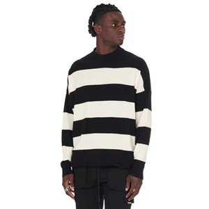 Men Women Best Quality Casual Destroyed Tassel Knitted Jumper Black White Stripes Vintage Represent Sweater Inside Tag