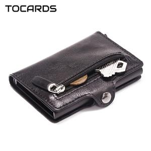 Herren-Aluminiumkreditkartenhalter RFID Blocking Metallhasp-Kartenbesitzer männlich dünne intelligente Mappen-Leder-Kasten-Münzentaschengeldbeutel für Männer