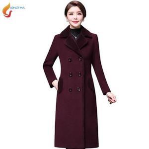 Лидирующий 2020 зима новый среднего возраста женщины Шерстяной способа куртки смесь шерсти шерстяная Overcoats Осень Mother Long Coat Plus sizeG440