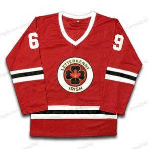 Корабль от нас # 69 Безопасный хоккейный джерси ТВ сериал Letterkenny Ирландские трикотажные изделия Все сшитые красные S-3XL